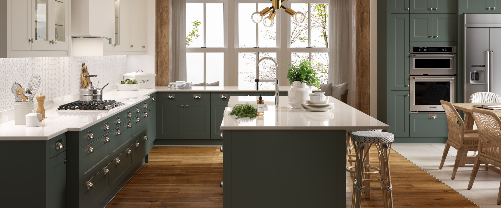 Shaker Chelsea Kitchen In Forest Green Matte Wren Kitchens