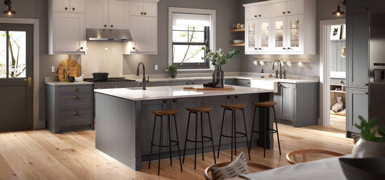 Framed Kitchen in Charcoal and Chalk White Matte