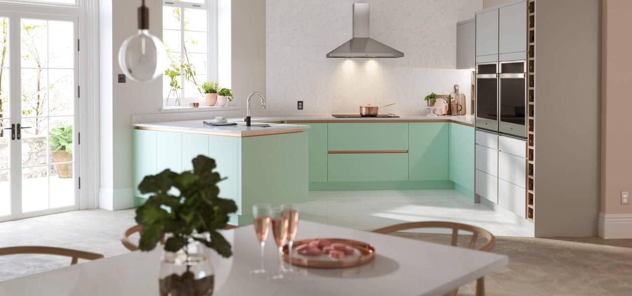 Milano Contour kitchen in Apple Fizz Juratek