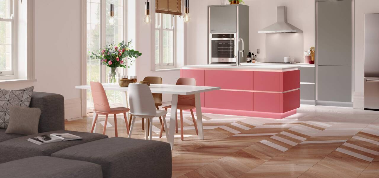 Milano Contour Kitchen in ColorSnap Pink Flamingo & Milano Ultra in Pebble
