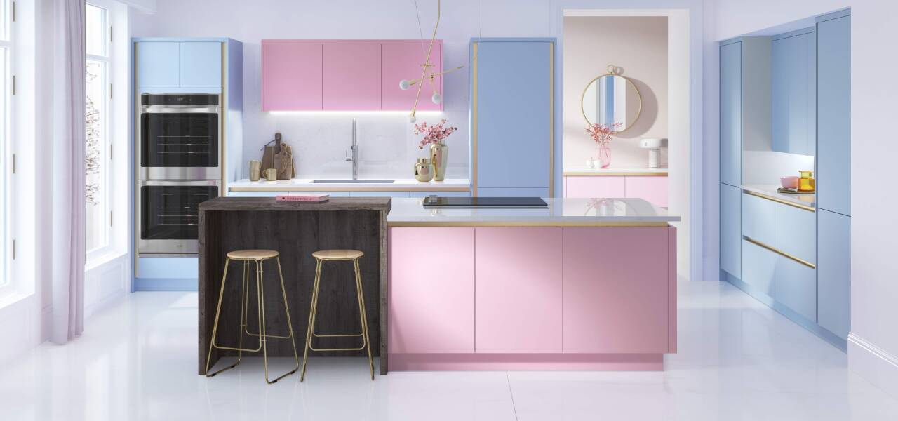 Milano Contour Kitchen in Jelly Bean and Cotton Candy Matte