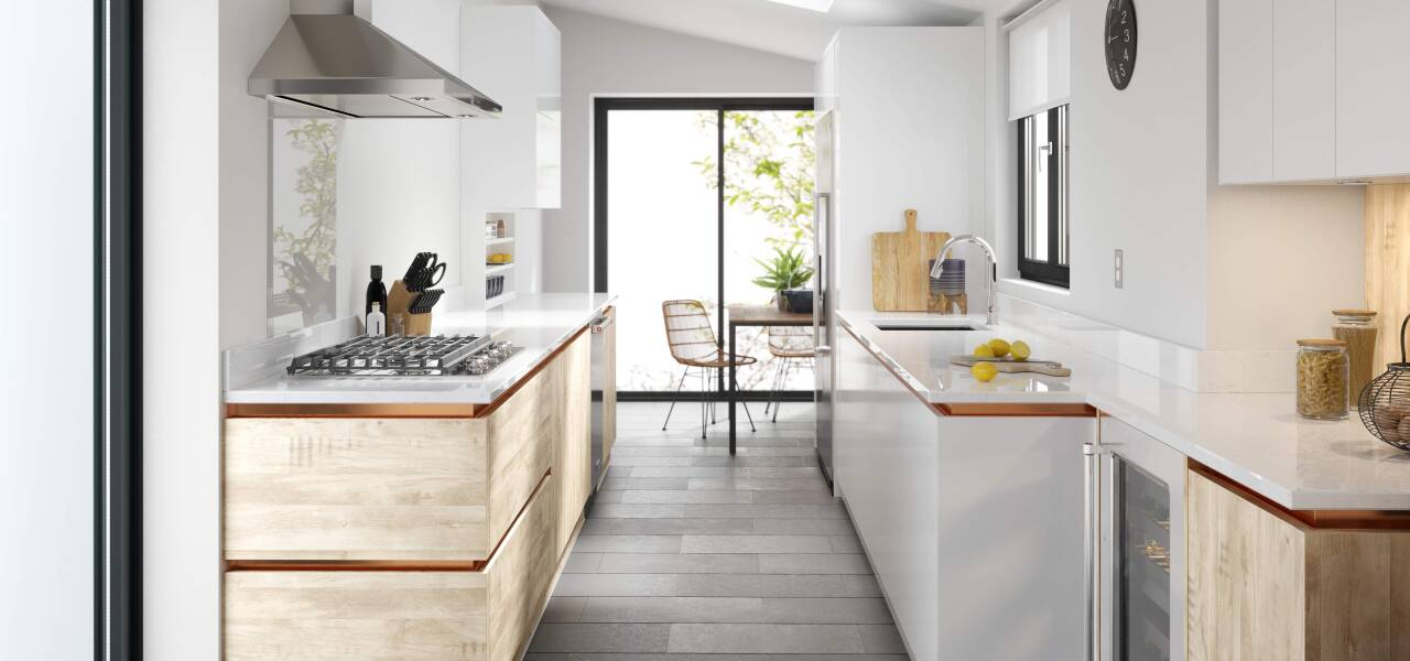 Milano Elements Kitchen in Harvest Oak Matte and Bianco Gloss